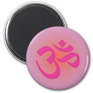 Om, in pink and orange magnets