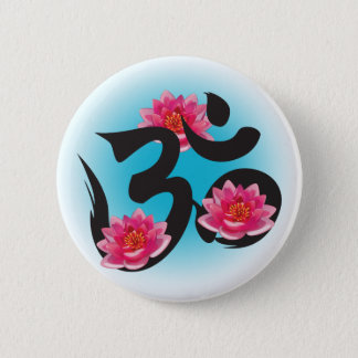 om lotus 6 cm round badge
