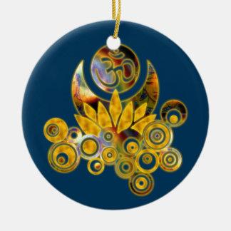 Om Lotus | dark blue Round Ceramic Decoration