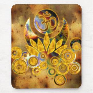 Om Lotus | dark yellow universe Mouse Pad