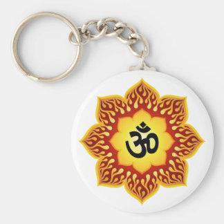 Om Lotus Fire Key Ring