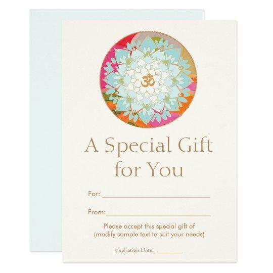 Om Lotus Flower Spiritual Health Gift Certificate Card