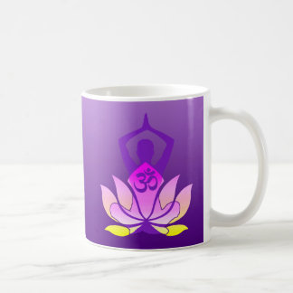 Om Lotus Flower Yoga Pose on Purple Gradient Basic White Mug