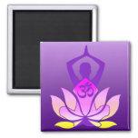 Om Lotus Flower Yoga Pose on Purple Gradient Square Magnet