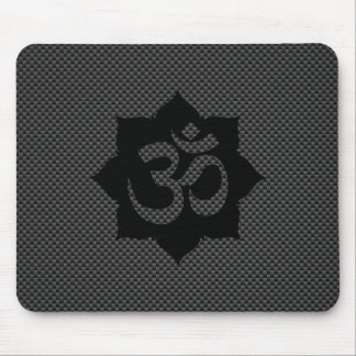 OM Lotus Spirituality Yoga in Carbon Fiber Style Mouse Pad