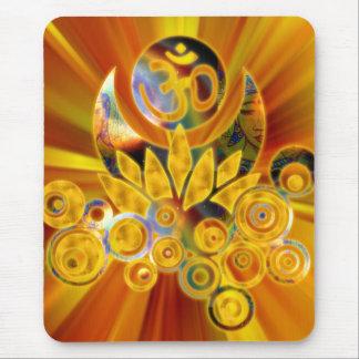 Om Lotus | yellow orange zoom Mouse Pad