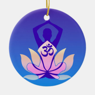 Om Lotus Yoga Pose Purple Hue Christmas Ornament