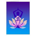 Om Lotus Yoga Pose Purple Hue Greeting Card