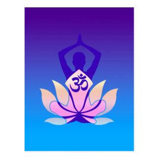 Om Lotus Yoga Pose Purple Hue Postcard