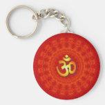 Om Mandala Design Basic Round Button Key Ring
