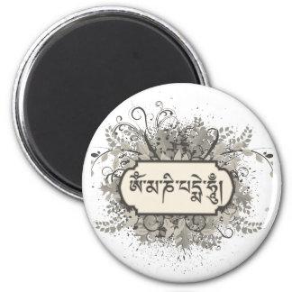 Om Mani Padme Hum Floral 6 Cm Round Magnet