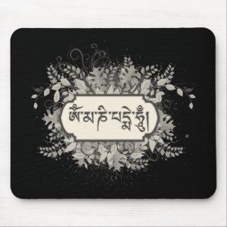 Om Mani Padme Hum Floral Mouse Pad