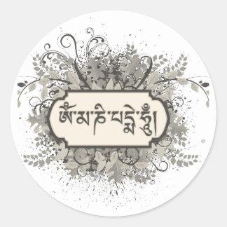 Om Mani Padme Hum Floral Round Sticker