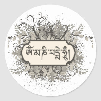 Om Mani Padme Hum Floral Round Stickers