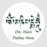 Om Mani Padme Hum III Round Sticker