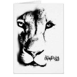 Om Mani Padme Hum Lion Card