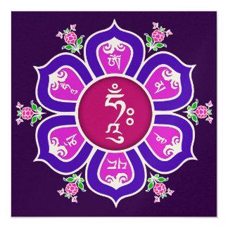Om Mani Padme Hum Lotus Throne Mandala 13 Cm X 13 Cm Square Invitation Card