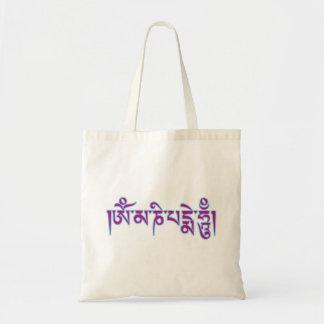 Om Mani Padme Hum Tibetan Script Buddhist Mantra Budget Tote Bag