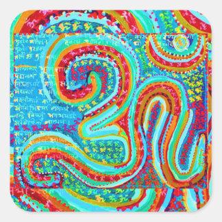 OM Mantra - 108 times Chanting n Meditation Square Sticker