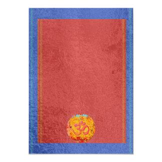 OM Mantra Dedication - Satin Silk Sparkle Surface 13 Cm X 18 Cm Invitation Card