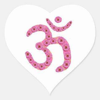 OM MANTRA - Flower Garland based Heart Sticker
