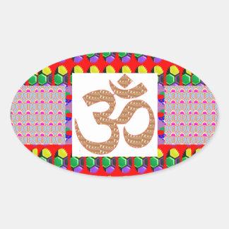 OM Mantra Gold INTENSE Devotion NVN189 NavinJOSHI Oval Stickers