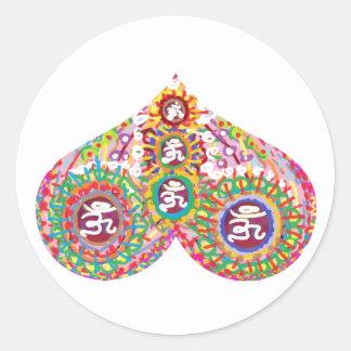 OM MANTRA in HEART Round Stickers