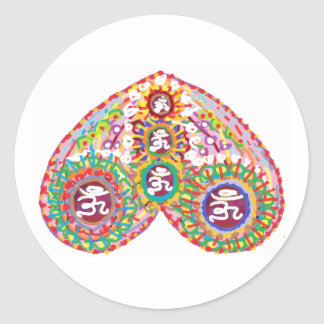 OM MANTRA in HEART Stickers