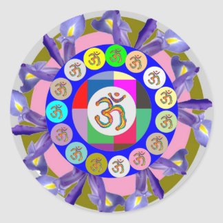 OM MANTRA OmMantra Chant Art Collection Round Stickers