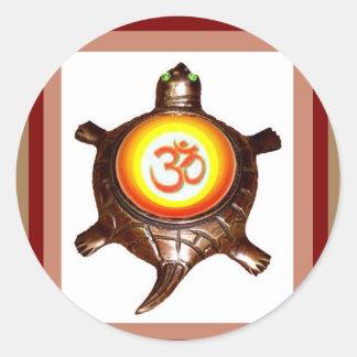 OM MANTRA ommantra Yoga Meditation Symbol   Turtle Round Sticker