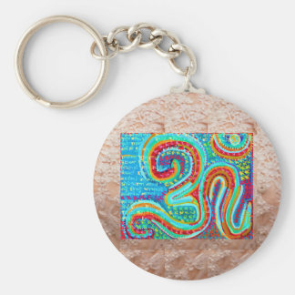 OM Mantra on Golden Jewel Base Art Key Ring