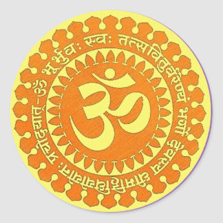 OM MANTRA ROUND STICKER
