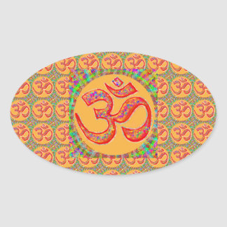 OM MANTRA Symbol TRUE HOLY ROBE Color Oval Stickers