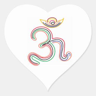 OM Mantra Symbols Art Heart Sticker