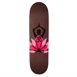 OM Namaste Spiritual Lotus Flower Yoga in Umber 19.7 Cm Skateboard Deck