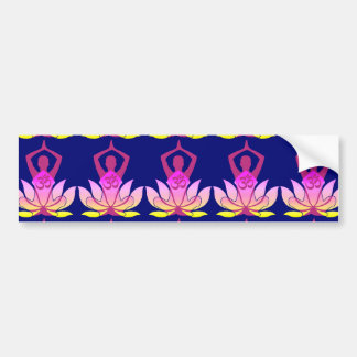 OM Namaste Spiritual Lotus Flower Yoga on Blue Bumper Sticker