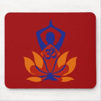 OM Namaste Spiritual Lotus Flower Yoga on Crimson Mouse Mat