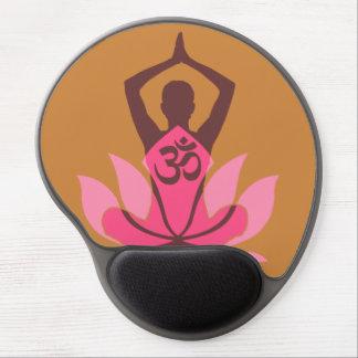 OM Namaste Spiritual Lotus Flower Yoga on Mustard Gel Mouse Pad