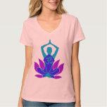 OM Namaste Spiritual Lotus Flower Yoga on Teal T-shirt