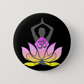 OM Namaste Spiritual Lotus Flower Yoga Pose 6 Cm Round Badge