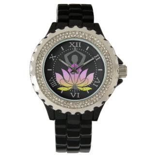 OM Namaste Spiritual Lotus Flower Yoga Pose Dial Watch