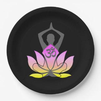 OM Namaste Spiritual Lotus Flower Yoga Pose Paper Plate