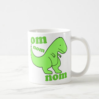 om nom nom dinosaur chompss classic white coffee mug