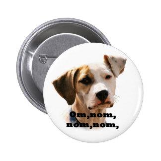 Om, nom, nom, nom, 6 cm round badge