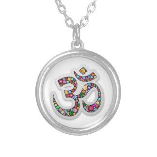 Om Ohm Aum Namaste Yoga Symbol Silver Plated Necklace