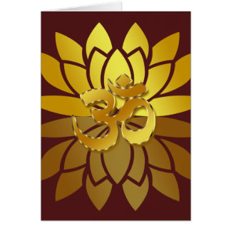 OM Omkara and Gold Colored Lotus Flower Greeting Card