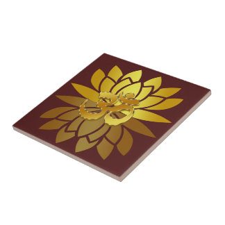 OM Omkara and Gold Colored Lotus Flower Small Square Tile