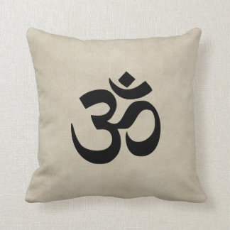 Om on cream grunge throw pillow