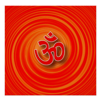 Om On Twirl Background Poster