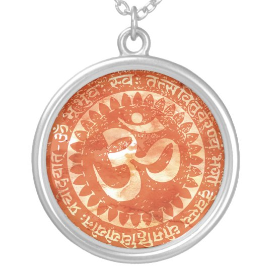 om orange silver plated necklace